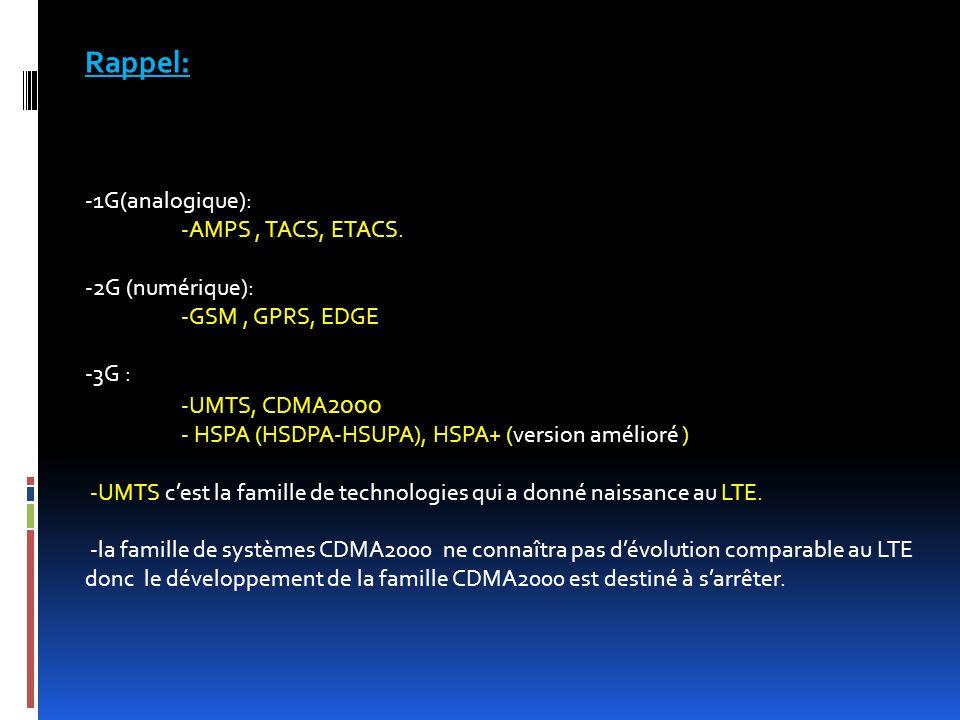Rappel: -1G(analogique): -AMPS , TACS, ETACS. -2G (numérique):