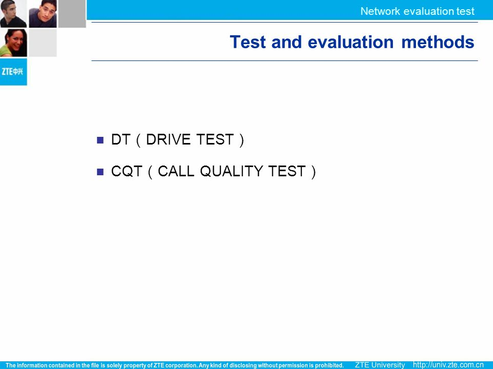 Test and evaluation methods