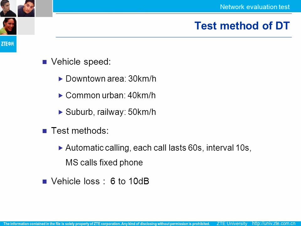Test method of DT Vehicle speed: Test methods: