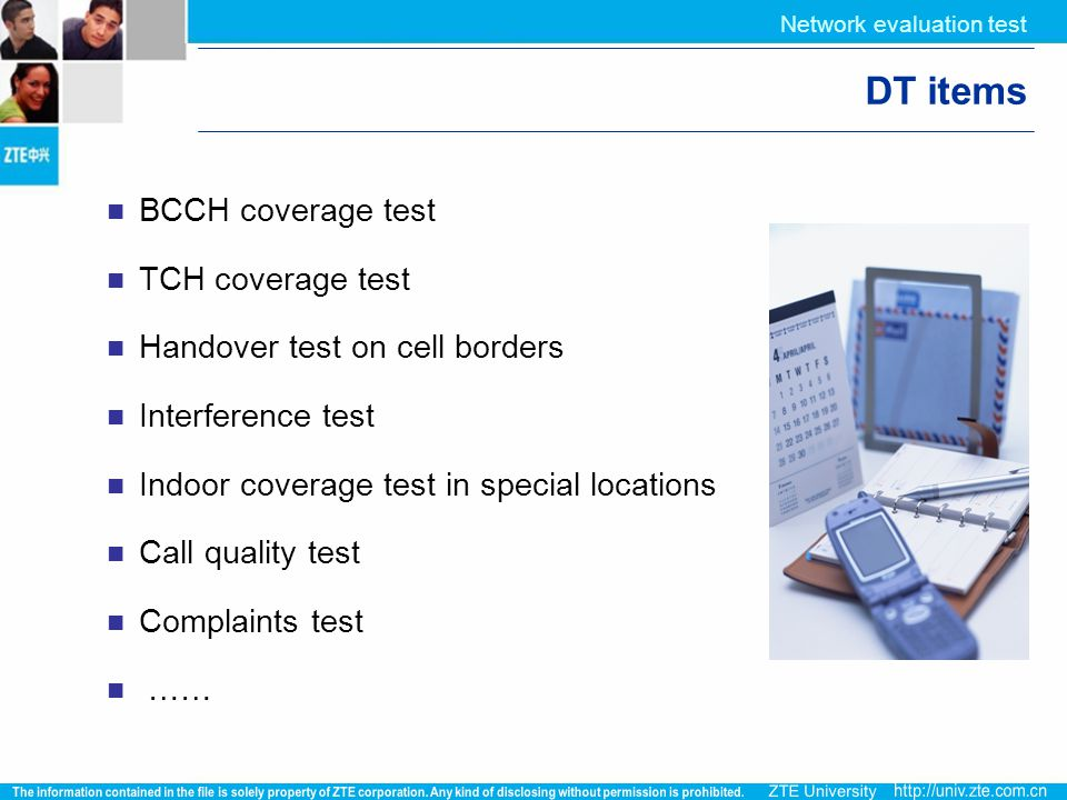 DT items BCCH coverage test TCH coverage test