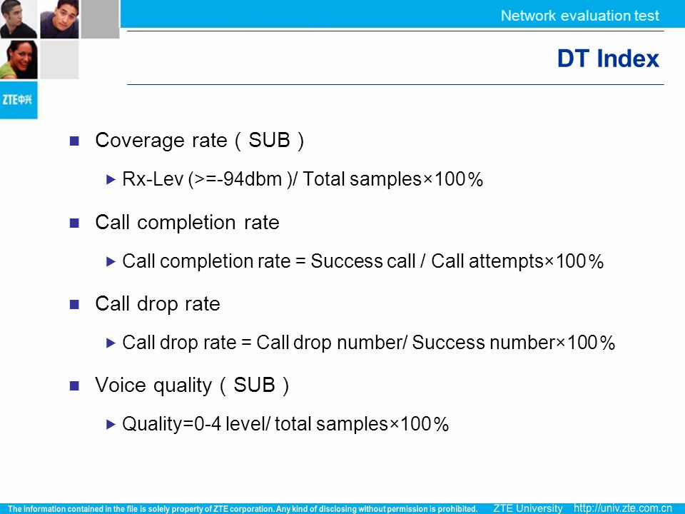 DT Index Coverage rate(SUB) Call completion rate Call drop rate