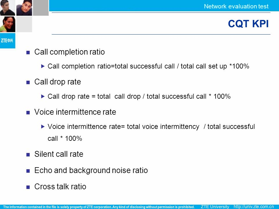 CQT KPI Call completion ratio Call drop rate Voice intermittence rate