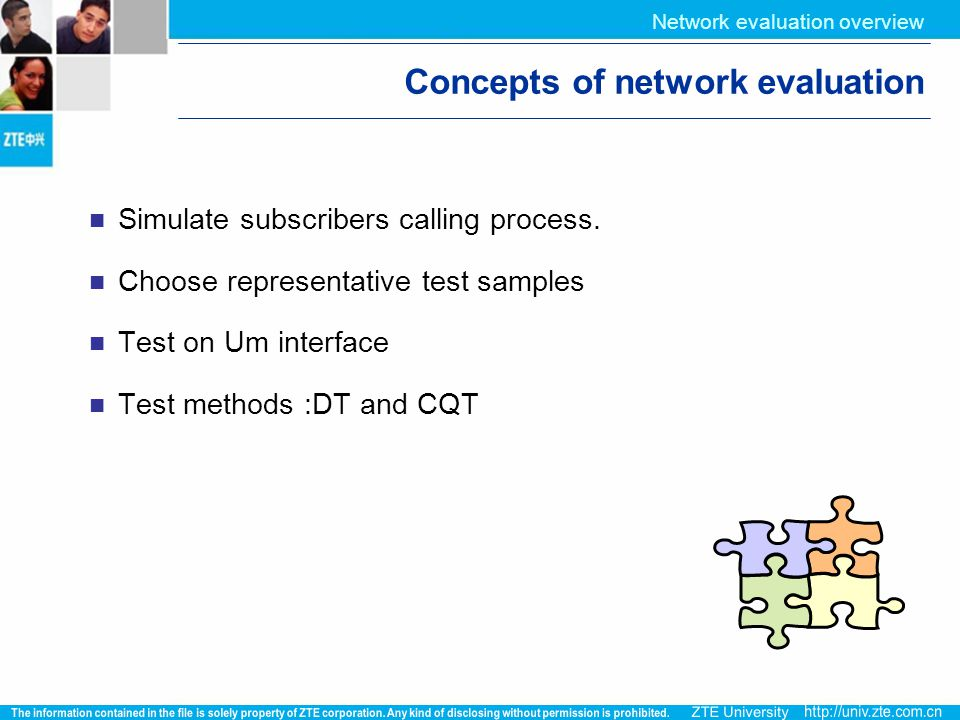 Concepts of network evaluation