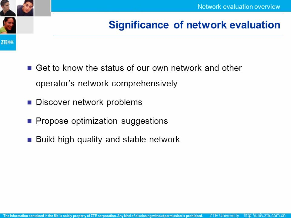 Significance of network evaluation