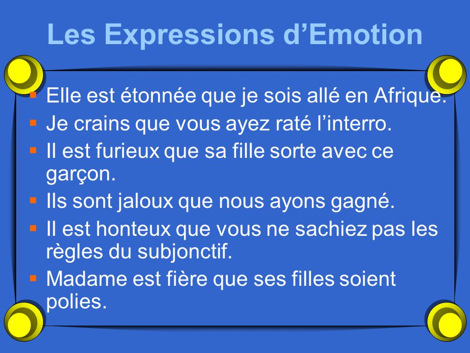 Les Expressions d'Emotion