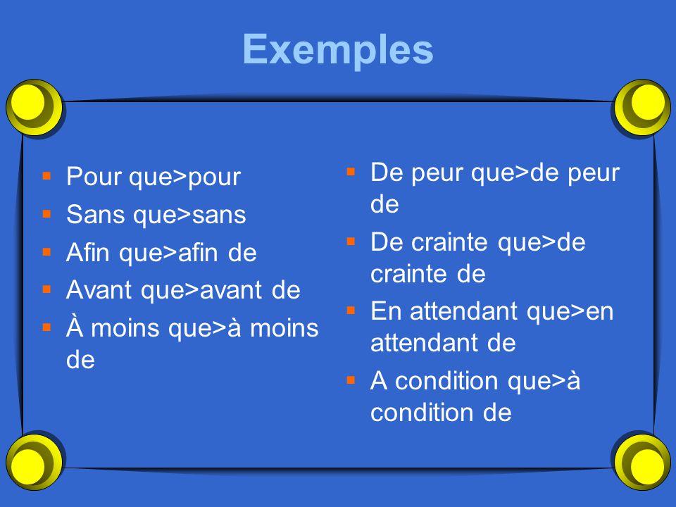 Exemples Pour que>pour Sans que>sans De peur que>de peur de