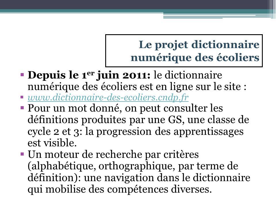 Le projet dictionnaire numérique des écoliers