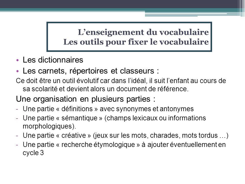 L'enseignement du vocabulaire Les outils pour fixer le vocabulaire