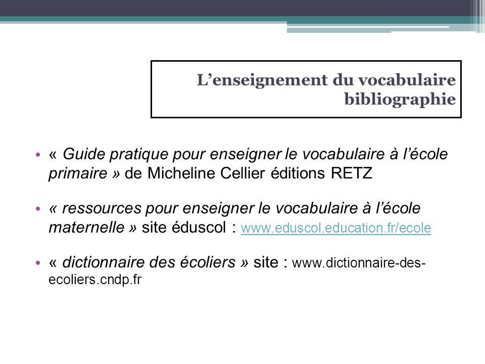 L'enseignement du vocabulaire bibliographie