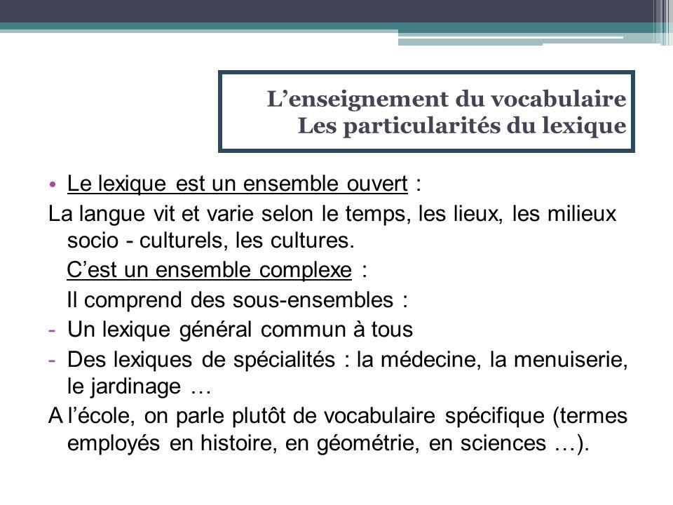 L'enseignement du vocabulaire Les particularités du lexique