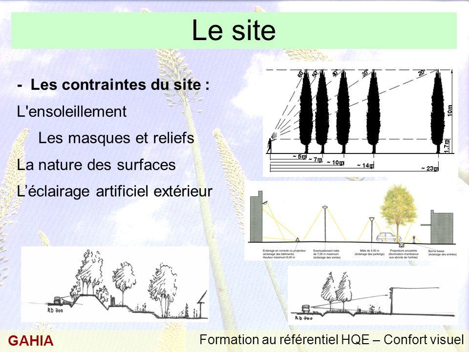 Le site - Les contraintes du site : Les masques et reliefs