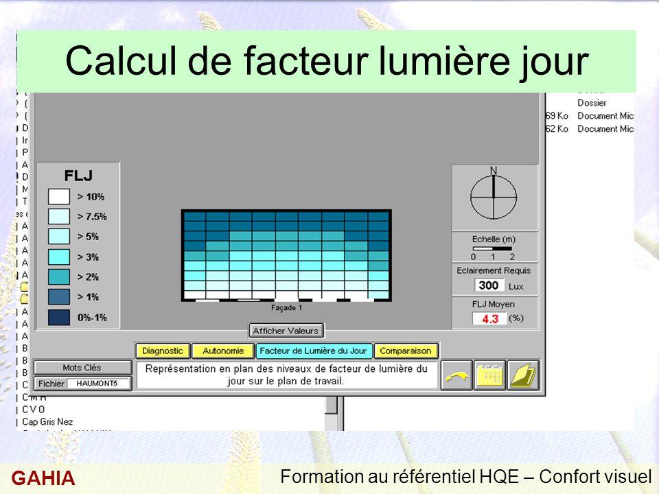 Calcul de facteur lumière jour