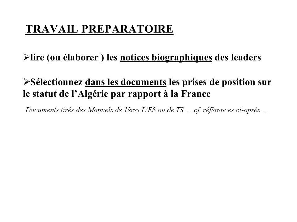TRAVAIL PREPARATOIRE lire (ou élaborer ) les notices biographiques des leaders.