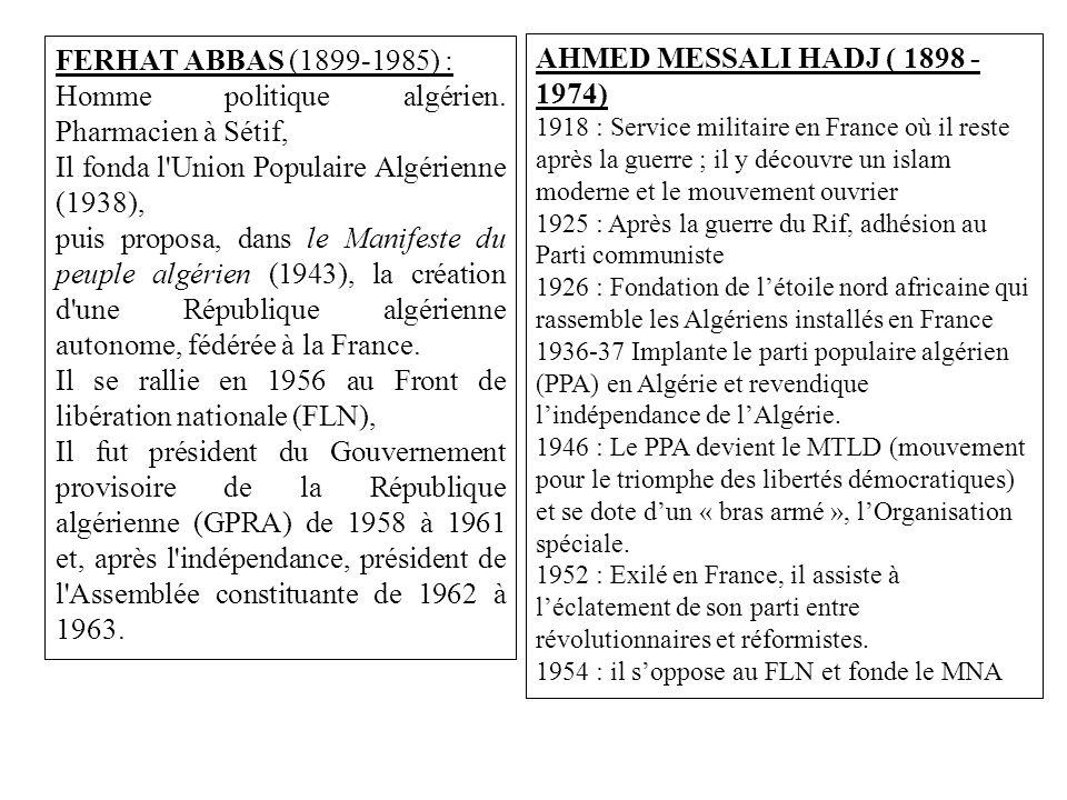 Homme politique algérien. Pharmacien à Sétif,