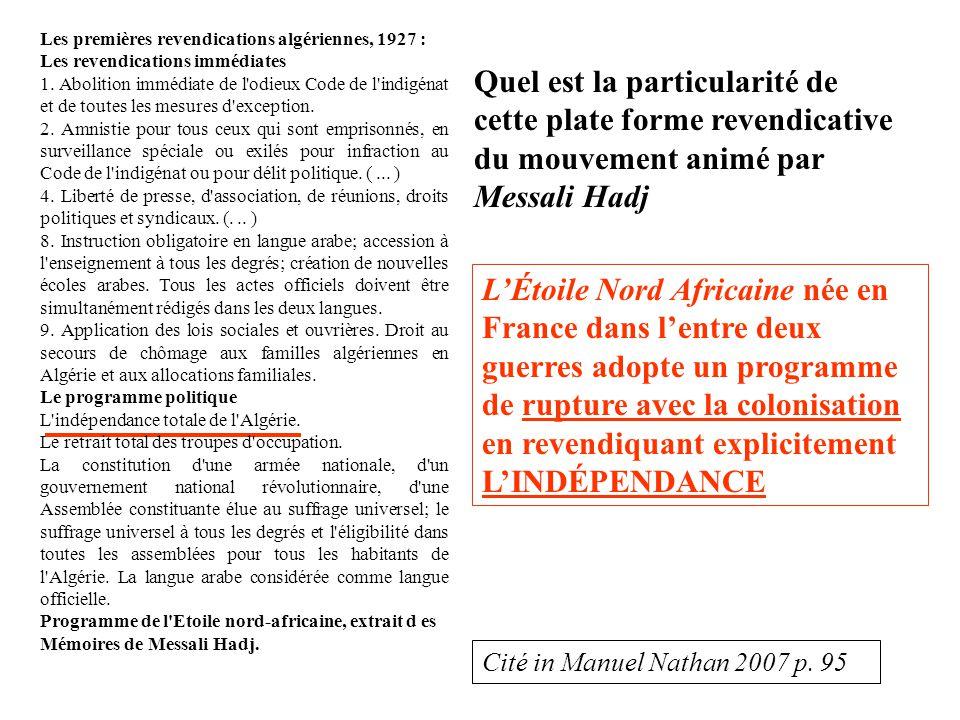 Les premières revendications algériennes, 1927 : Les revendications immédiates