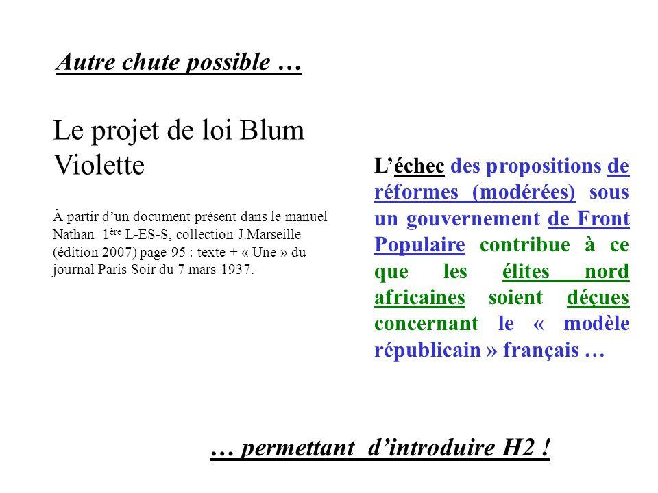 Le projet de loi Blum Violette