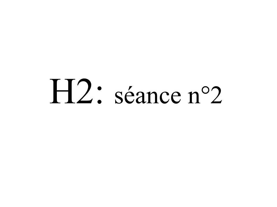 H2: séance n°2