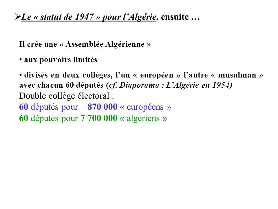 Le « statut de 1947 » pour l'Algérie, ensuite …