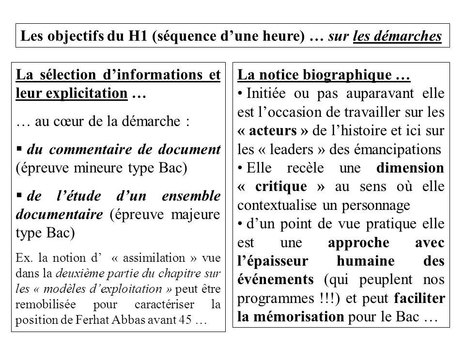 Les objectifs du H1 (séquence d'une heure) … sur les démarches
