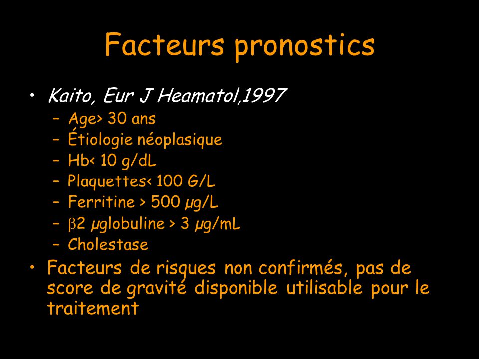 Facteurs pronostics Kaito, Eur J Heamatol,1997