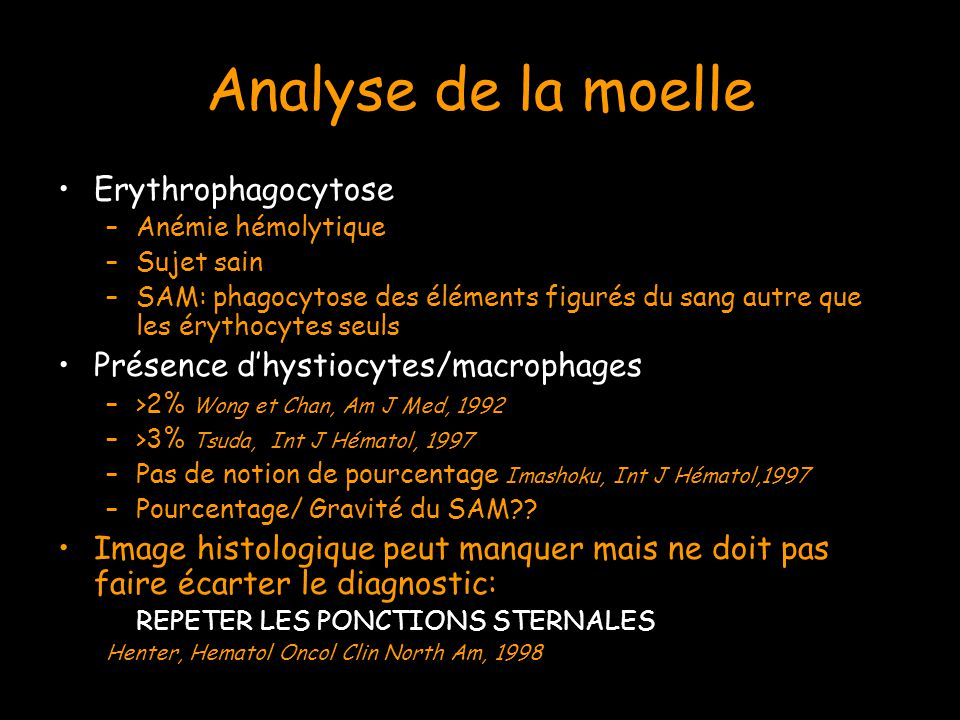 Analyse de la moelle Erythrophagocytose