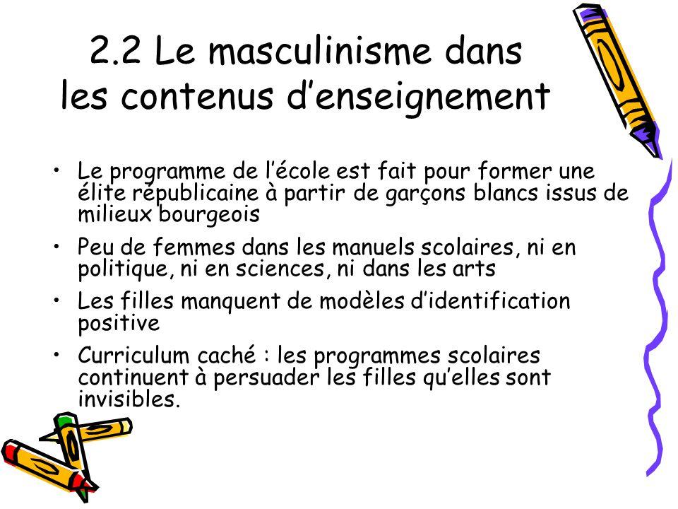 2.2 Le masculinisme dans les contenus d'enseignement