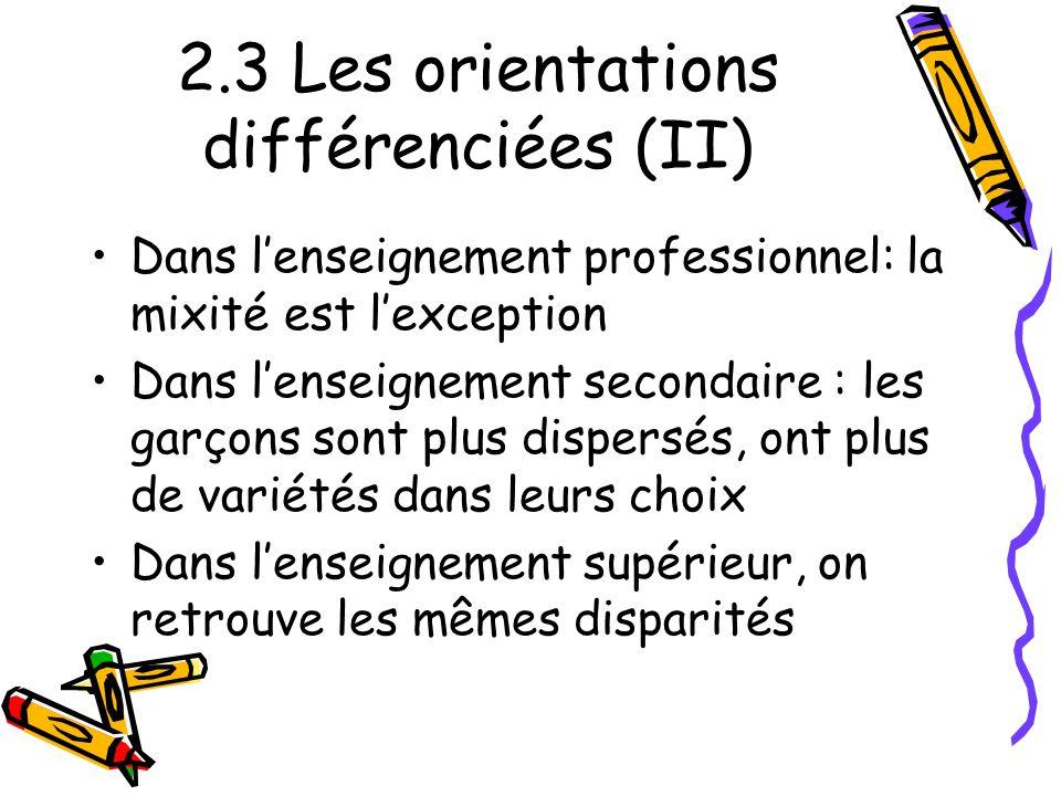2.3 Les orientations différenciées (II)
