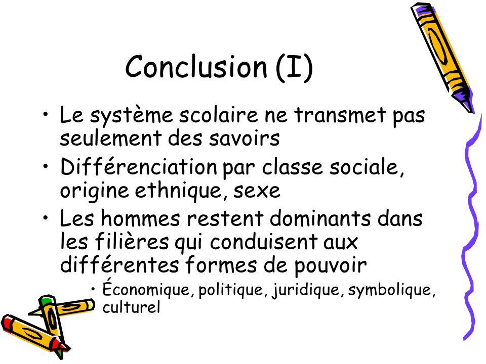 Conclusion (I) Le système scolaire ne transmet pas seulement des savoirs. Différenciation par classe sociale, origine ethnique, sexe.