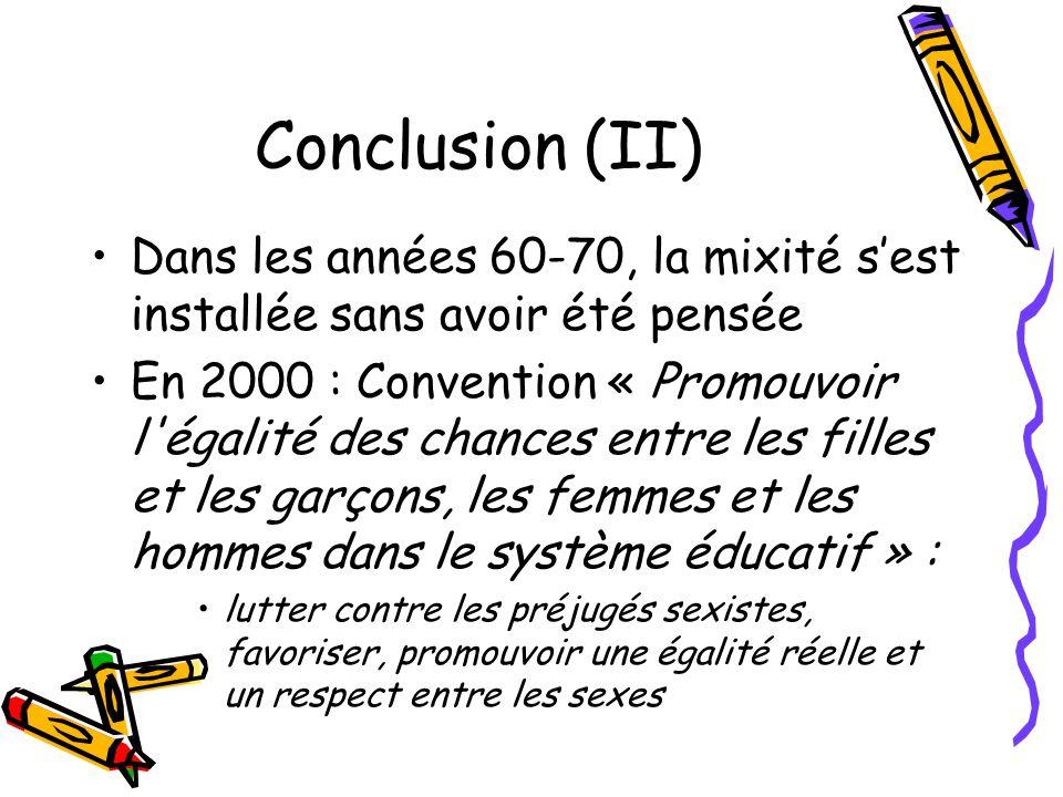 Conclusion (II) Dans les années 60-70, la mixité s'est installée sans avoir été pensée.