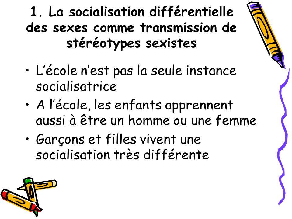 1. La socialisation différentielle des sexes comme transmission de stéréotypes sexistes