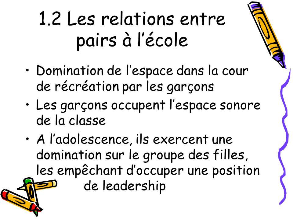 1.2 Les relations entre pairs à l'école