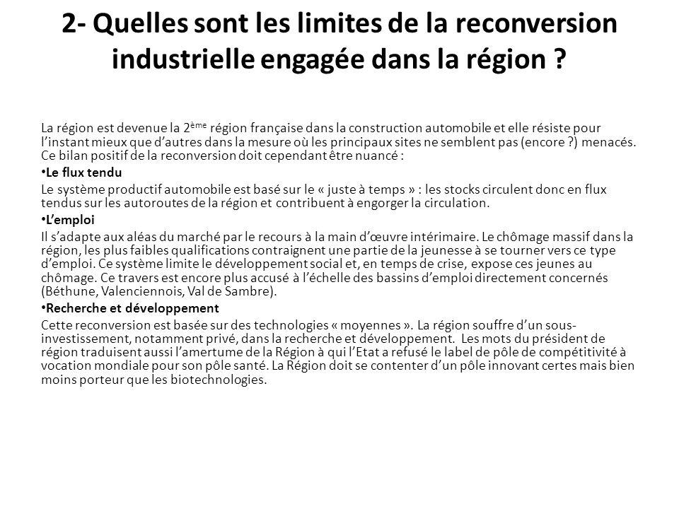 2- Quelles sont les limites de la reconversion industrielle engagée dans la région