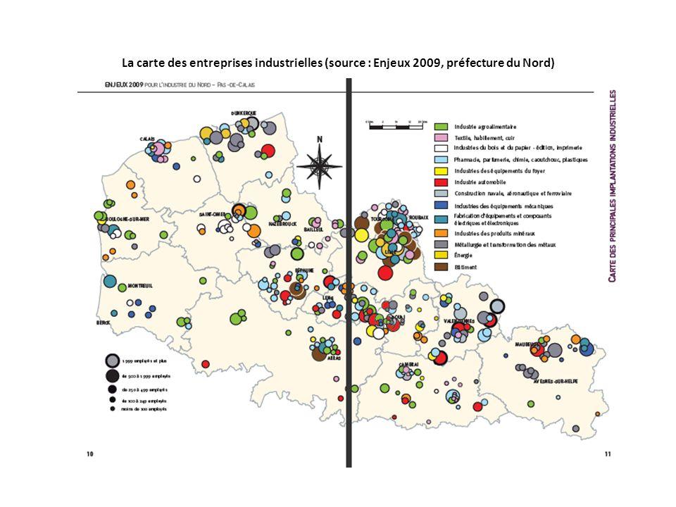 La carte des entreprises industrielles (source : Enjeux 2009, préfecture du Nord)