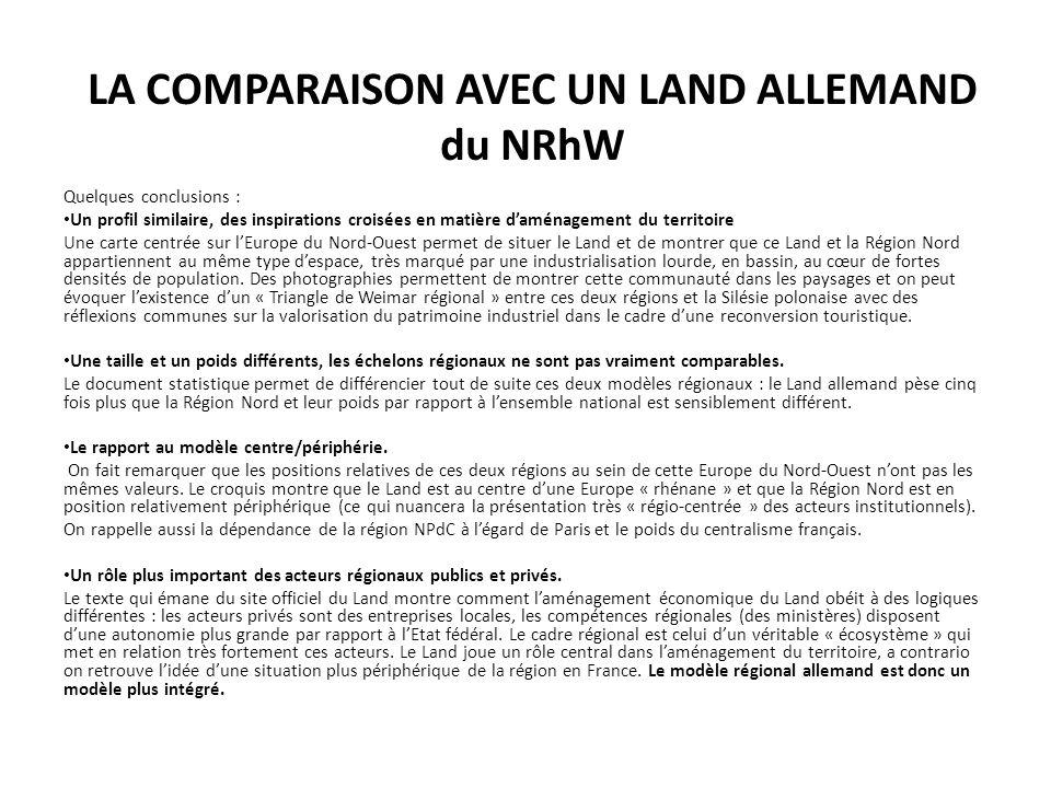 LA COMPARAISON AVEC UN LAND ALLEMAND du NRhW