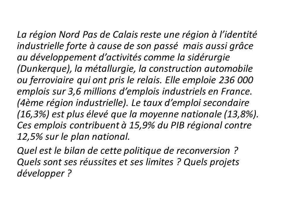 La région Nord Pas de Calais reste une région à l'identité industrielle forte à cause de son passé mais aussi grâce au développement d'activités comme la sidérurgie (Dunkerque), la métallurgie, la construction automobile ou ferroviaire qui ont pris le relais. Elle emploie 236 000 emplois sur 3,6 millions d'emplois industriels en France. (4ème région industrielle). Le taux d'emploi secondaire (16,3%) est plus élevé que la moyenne nationale (13,8%). Ces emplois contribuent à 15,9% du PIB régional contre 12,5% sur le plan national.