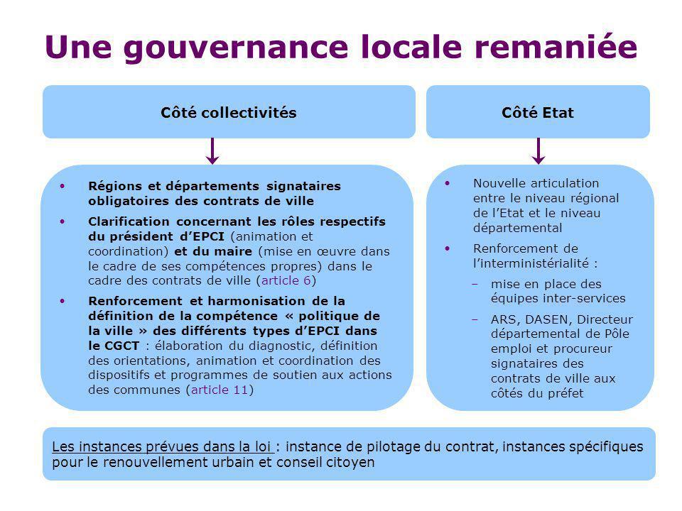 Une gouvernance locale remaniée