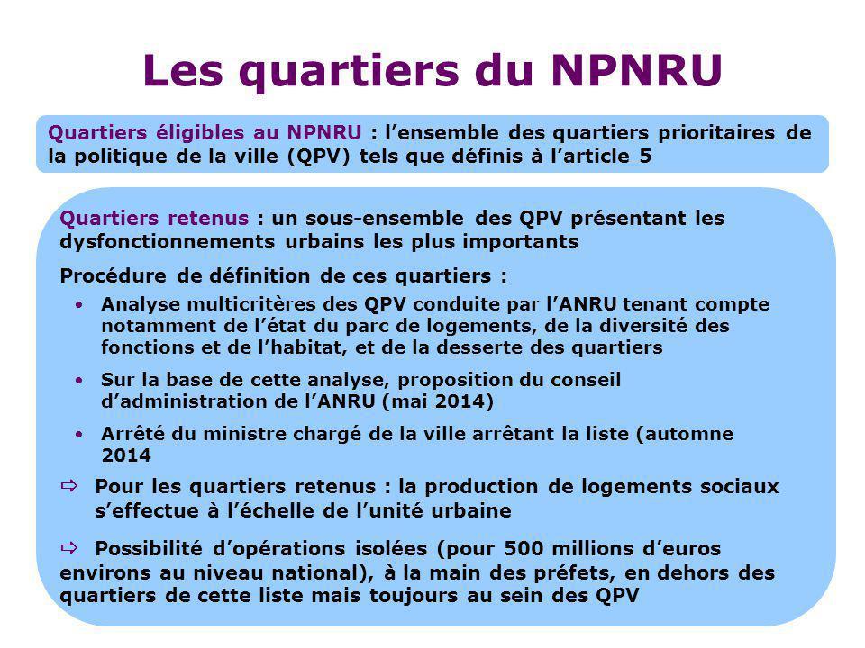 Les quartiers du NPNRU