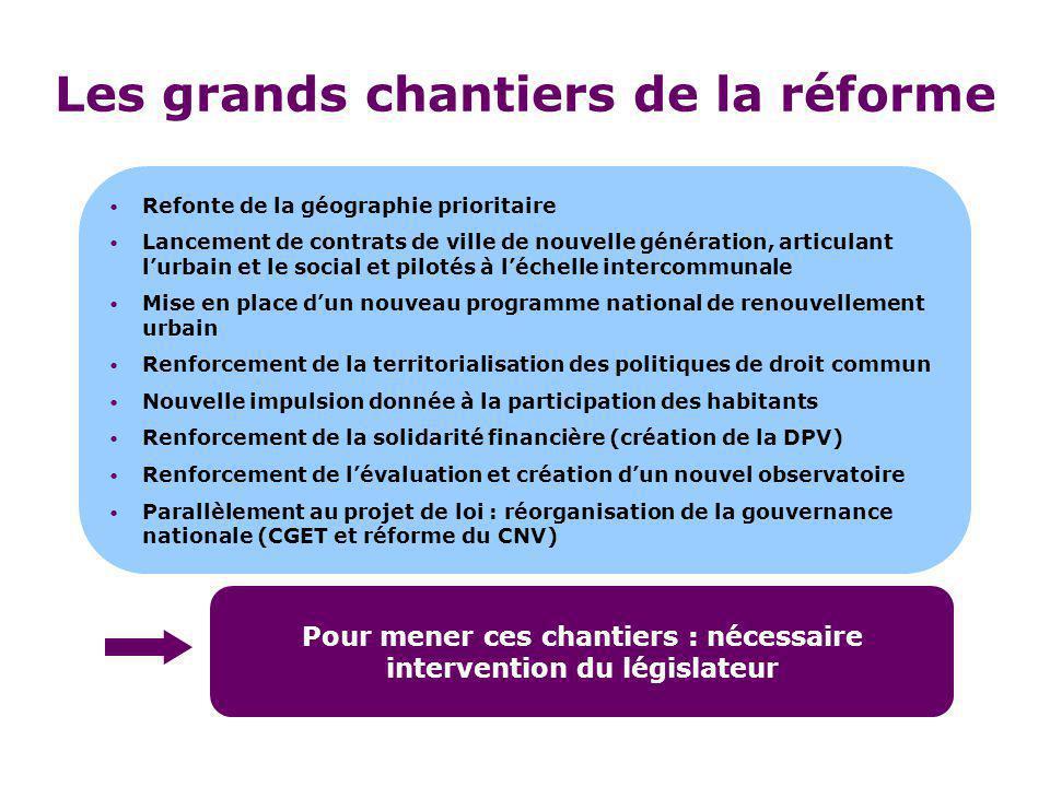 Les grands chantiers de la réforme