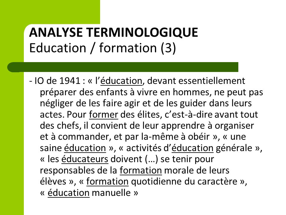 ANALYSE TERMINOLOGIQUE Education / formation (3)