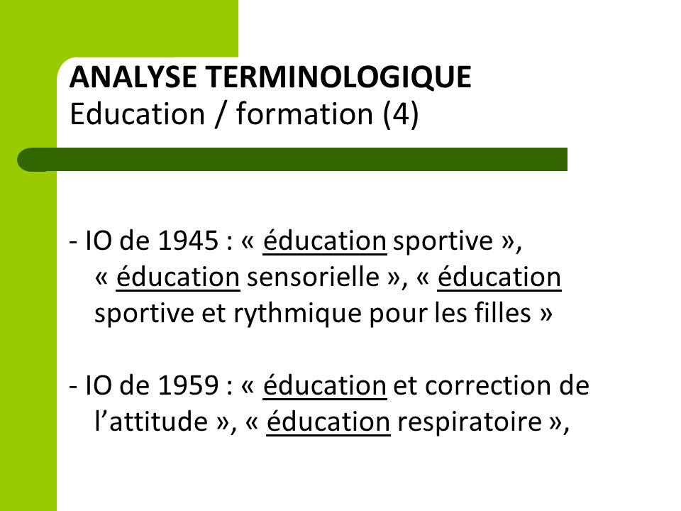 ANALYSE TERMINOLOGIQUE Education / formation (4)