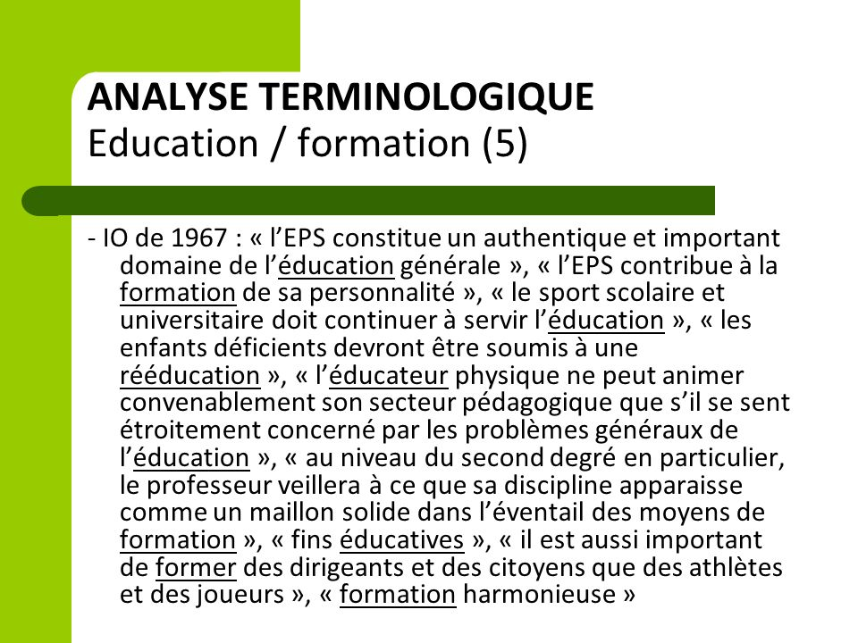 ANALYSE TERMINOLOGIQUE Education / formation (5)