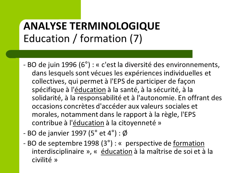 ANALYSE TERMINOLOGIQUE Education / formation (7)