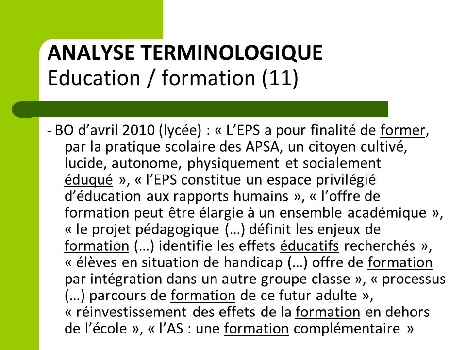 ANALYSE TERMINOLOGIQUE Education / formation (11)