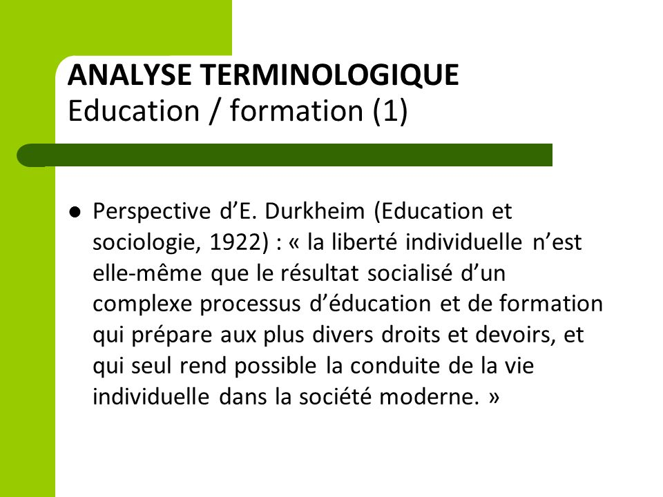 ANALYSE TERMINOLOGIQUE Education / formation (1)