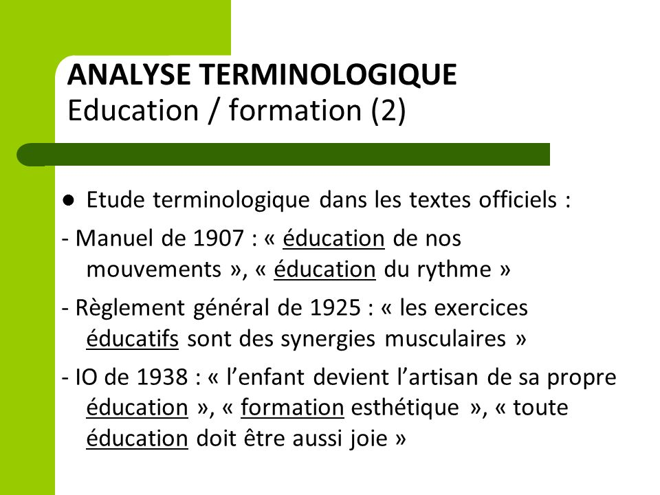 ANALYSE TERMINOLOGIQUE Education / formation (2)