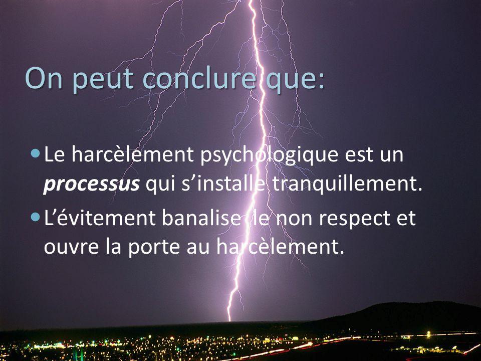 On peut conclure que: Le harcèlement psychologique est un processus qui s'installe tranquillement.