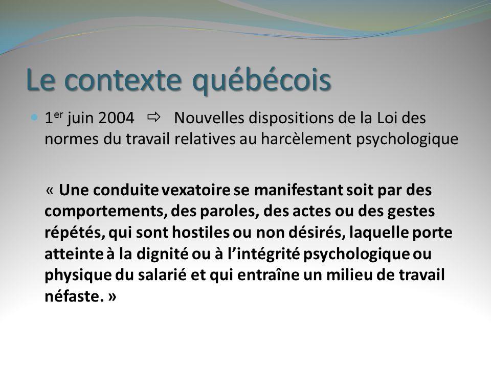 Le contexte québécois 1er juin 2004  Nouvelles dispositions de la Loi des normes du travail relatives au harcèlement psychologique.