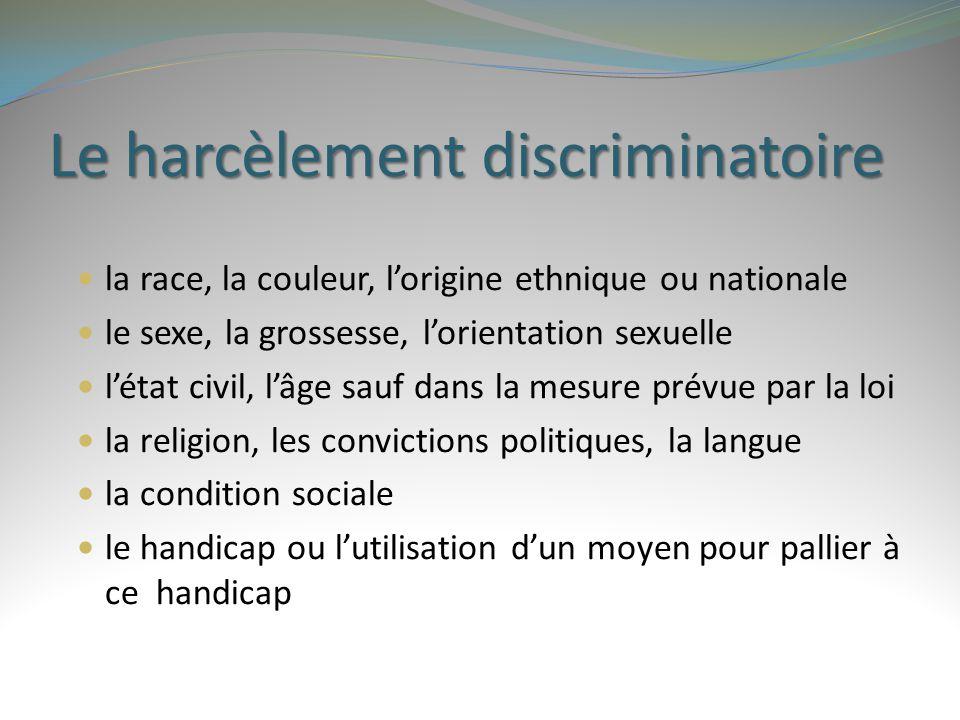 Le harcèlement discriminatoire