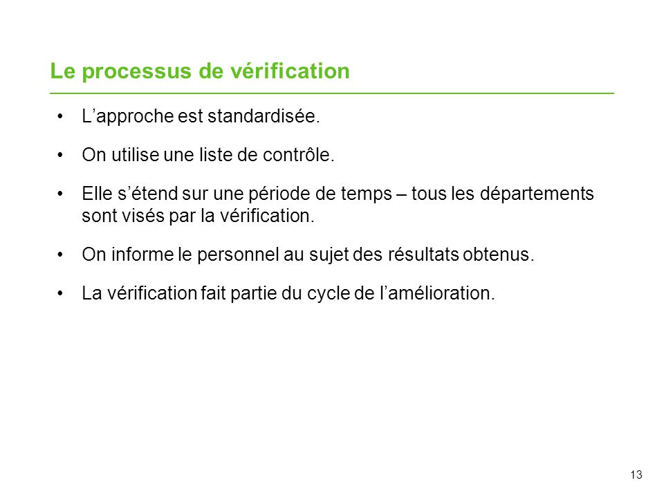 Le processus de vérification