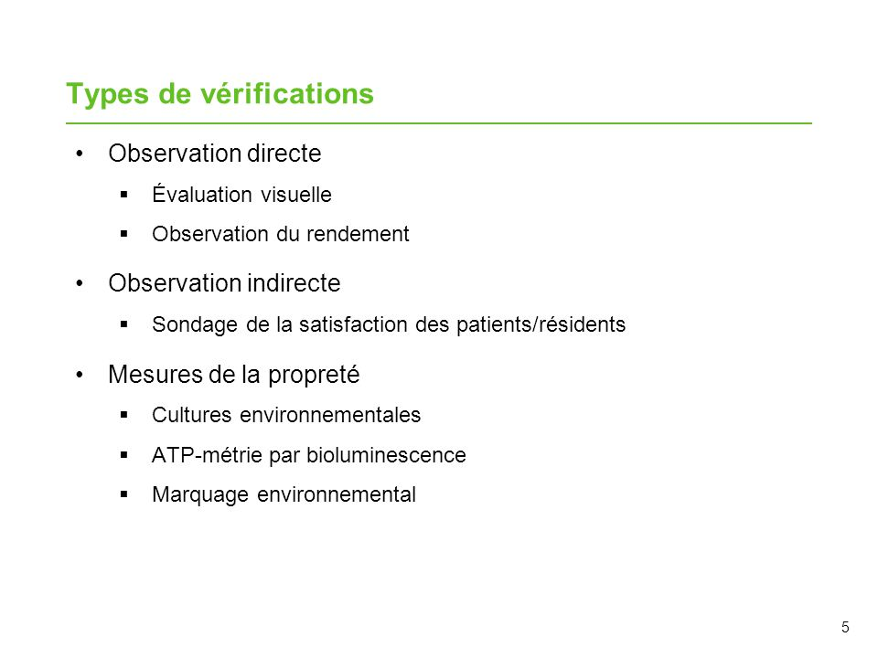 Types de vérifications